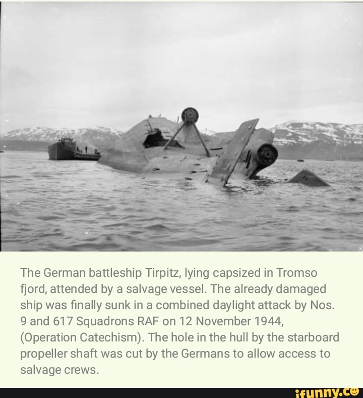 lying capsized in Tromso fjord WW2 Photo 5 x 7 The German battleship Tirpitz