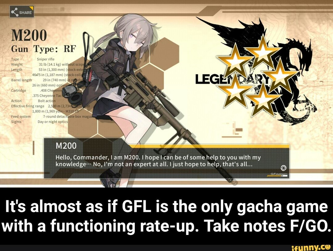 It's almost as if GFL is the only gacha game with a functioning rate