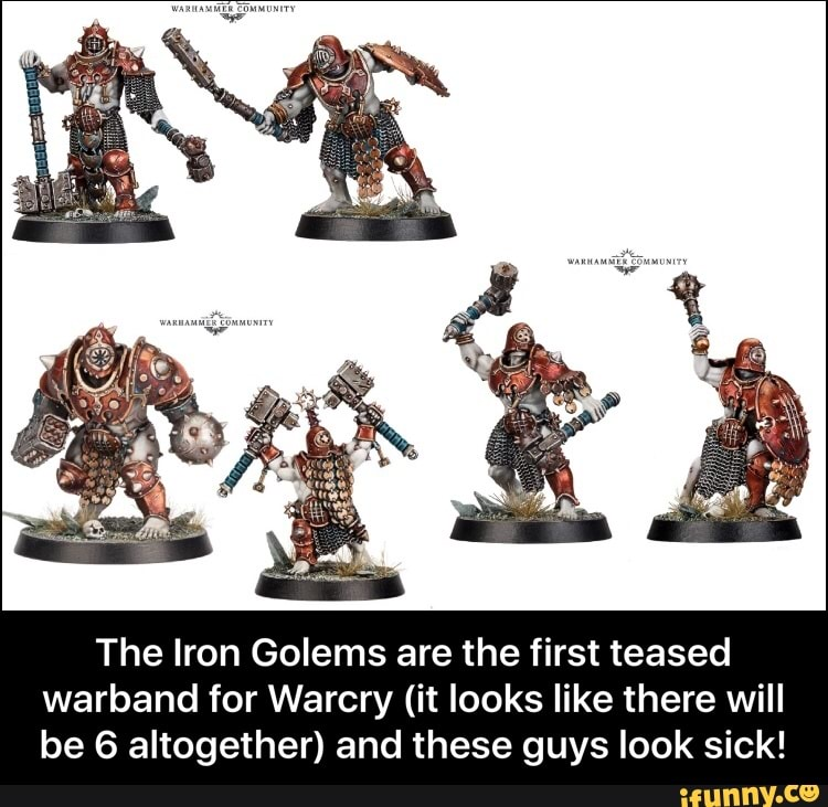 The Iron Golems are the first teased warband for Warcry (it looks