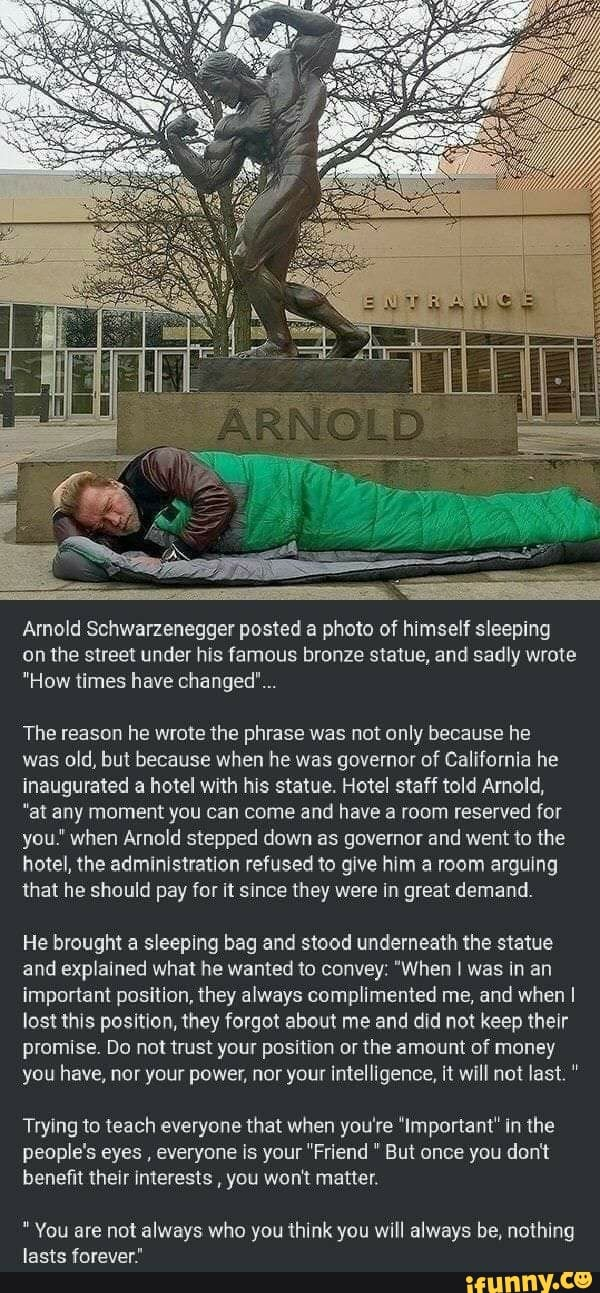 Armold Schwarzenegger posted a photo of himself sleeping ...