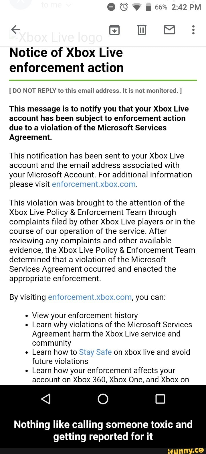Notice of Xbox Live enforcement action [DO NOT REPLY to this