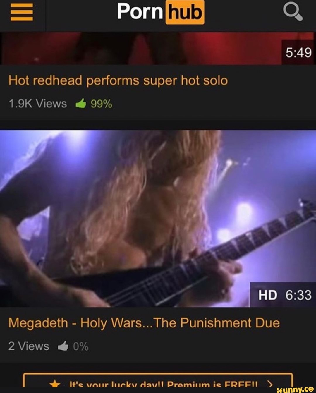 Hot Redhead Performs Super Hot Solo Megadeth Holy Wars The Punishment Due 2 Views 0 Ifunny