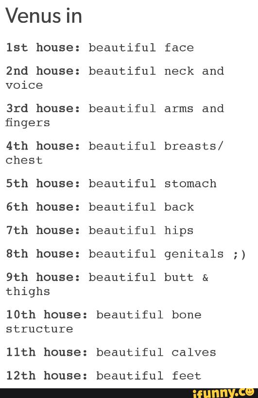 Venus in lst house: 2nd house: voice 3rd house: fingers 4th