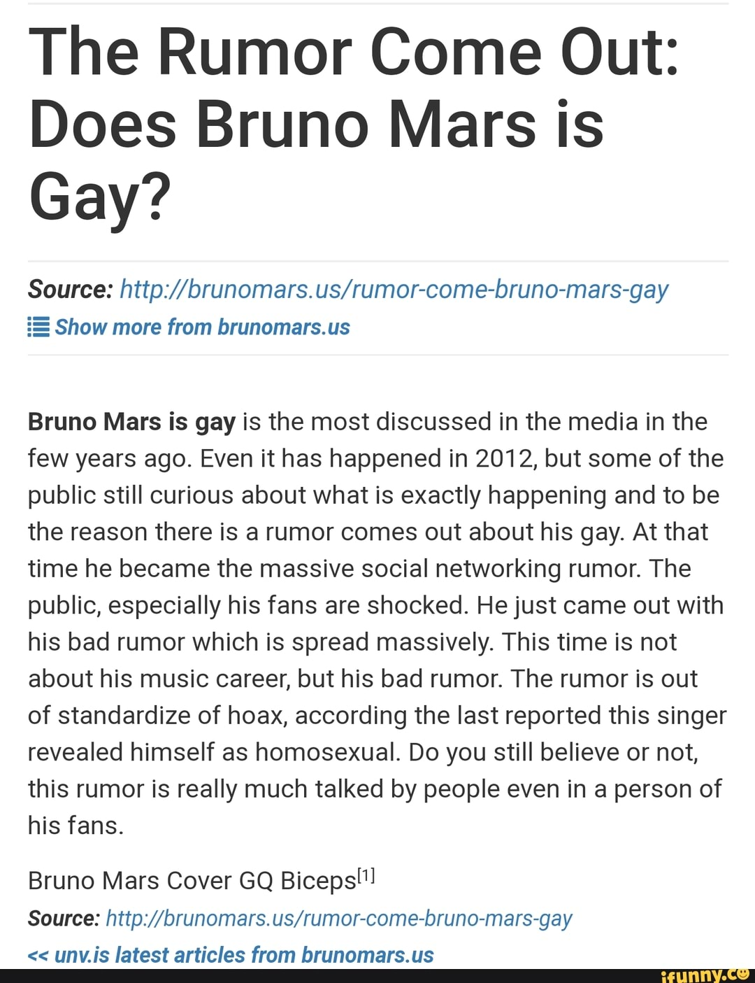 Does Bruno Mars Is Gay