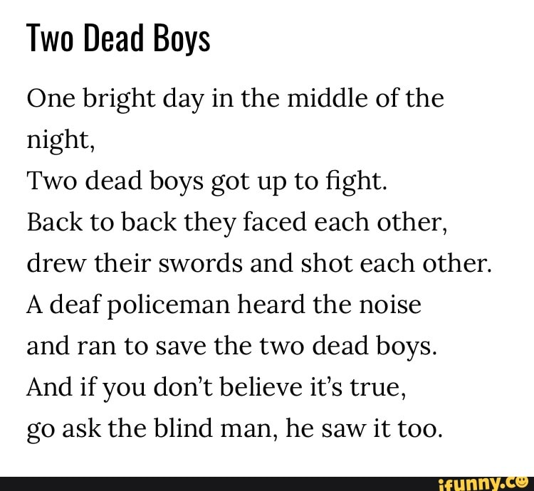 Two Dead Boys One Bright Day In The Middle Of The Night Two