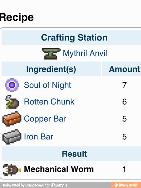 Recipe Crafting Station 'SE Mythril Anvil Ingredient(s) Amount D Rotten  Chunk 6 Ge Copper Bar 5 Result