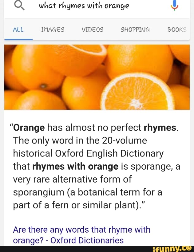 What Rhymes With Orange
