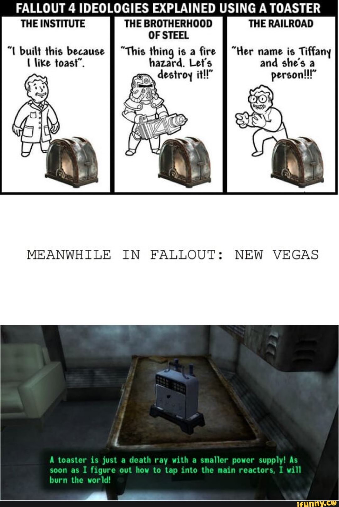 FALLOUT 4 IDEOLOGIES EXPLAINED USING A TOASTER THE INSTITUTE