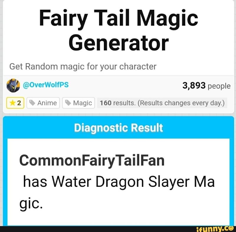 Fairy Tail Magic Generator Get Random magic for your