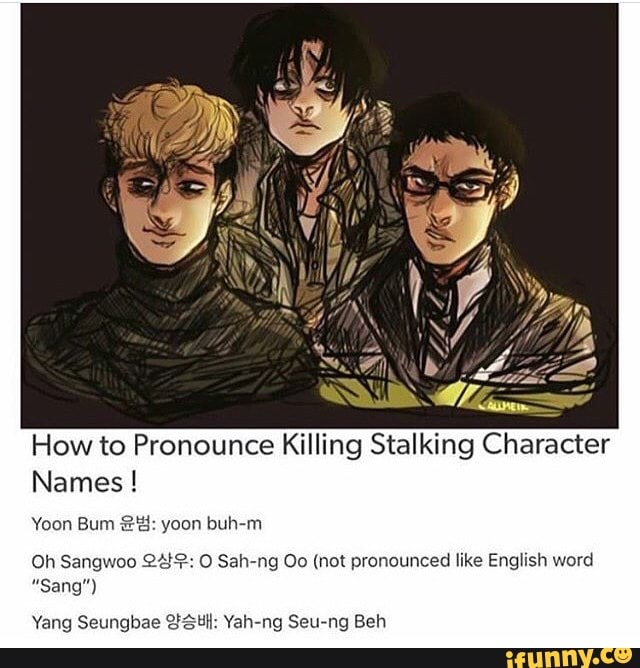 How to Pronounce Killing Stalking Character Names ! Yoon Bum