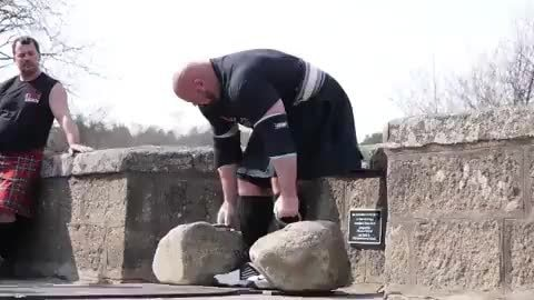 Brian Shaw Dinnie Stones Which Weigh 318 5 Lbs And 414 5 Lbs Combined Weight Of 733 Lbs Ifunny