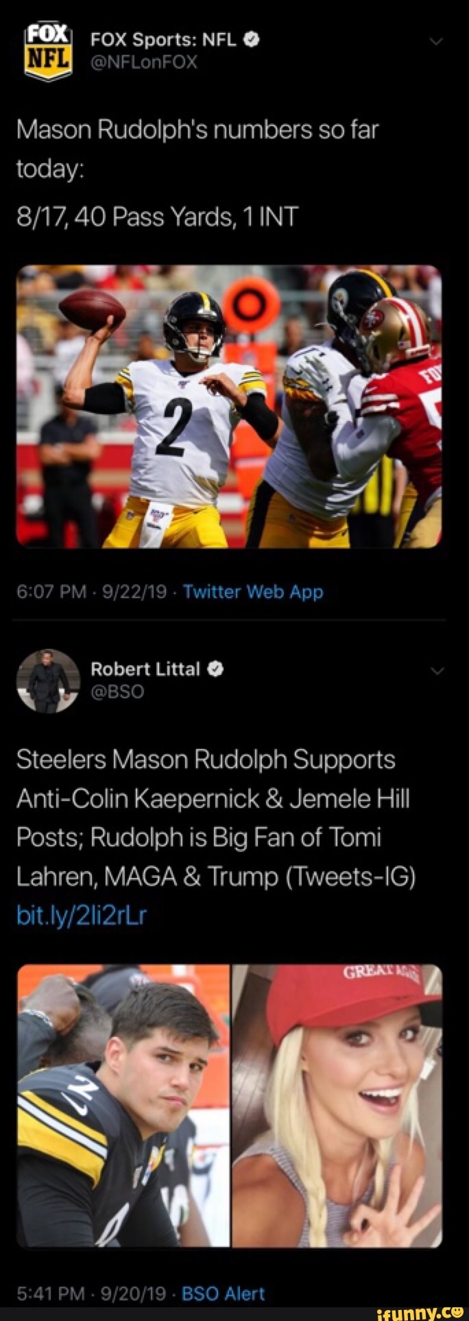 Mason Rudolph S Numbers So Far 8 17 40 Pass Yards 1 Int Steelers Mason Rudolph Supports Anti Colin Kaepernick Jemele Hill Posts Rudolph Is Big Fan Of Tomi Lahren Maga Trump Tweets Ig