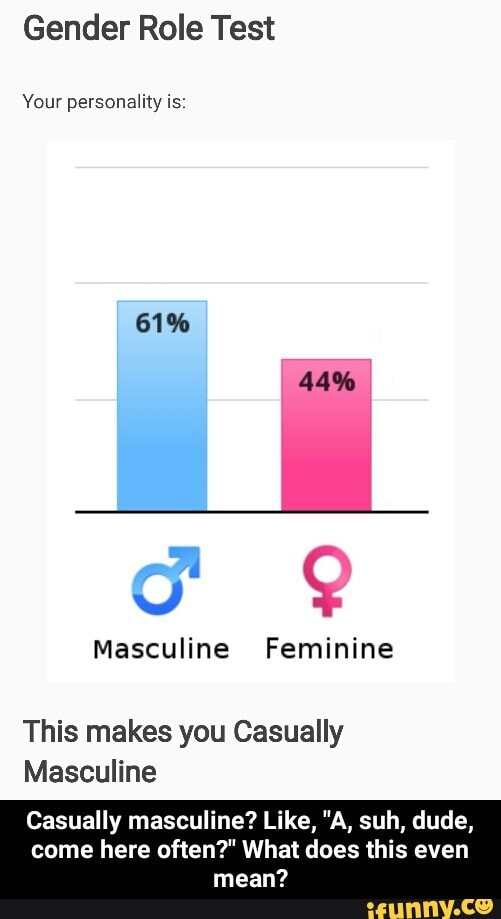 Gender Role Test Masculine Feminine This makes you Casually