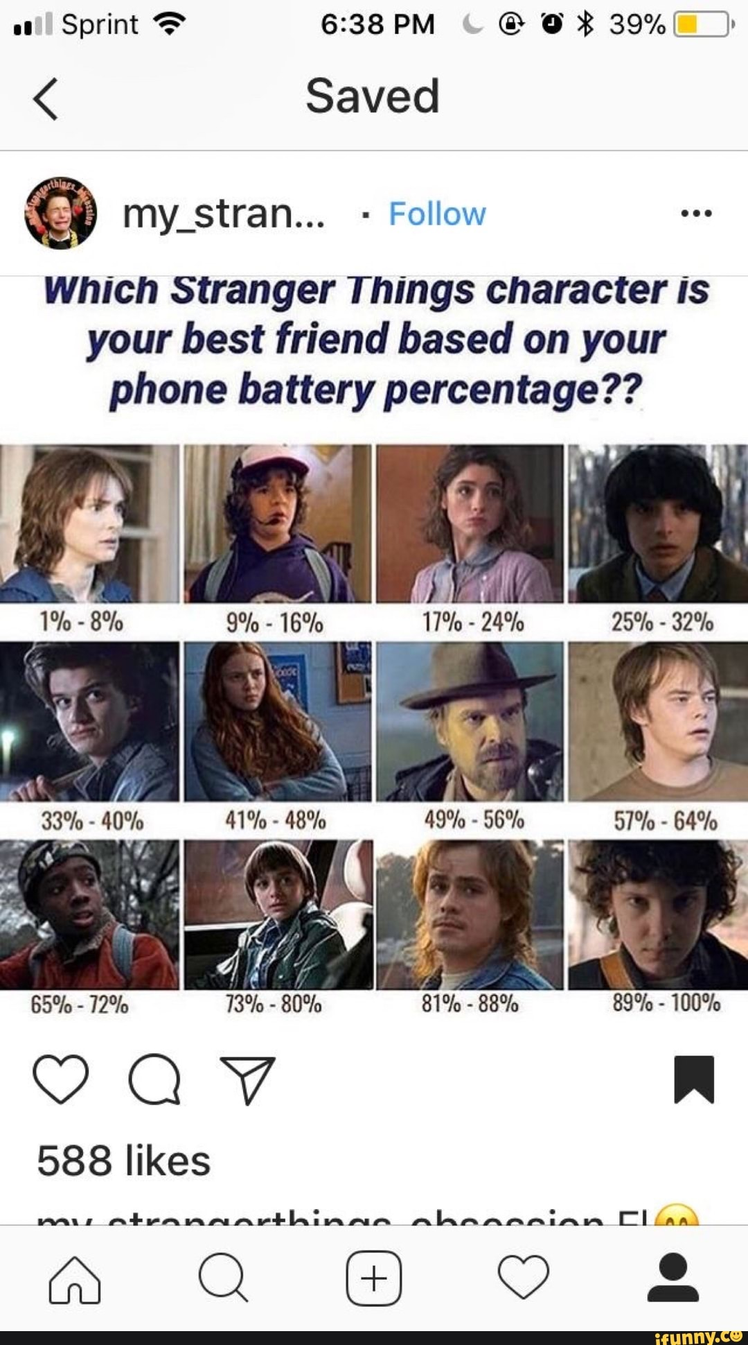 Which Stranger Things Character Is Your Best Friend Based On Your Phone Battery Percentage Ifunny