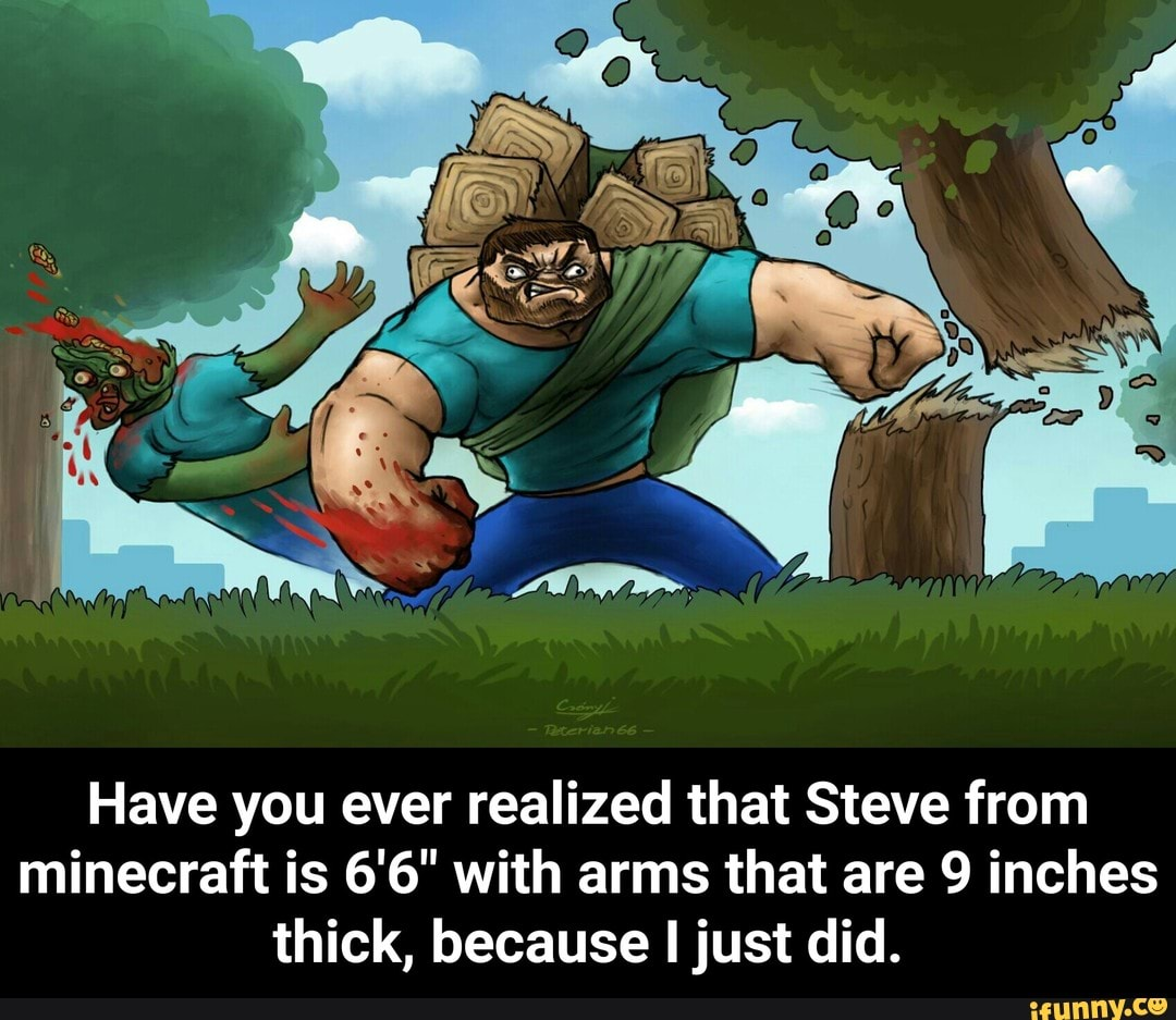 Have You Ever Realized That Steve From Minecraft Is 6 6 With Arms That Are 9 Inches Thick Because I Just Did Have You Ever Realized That Steve From Minecraft Is 6 6