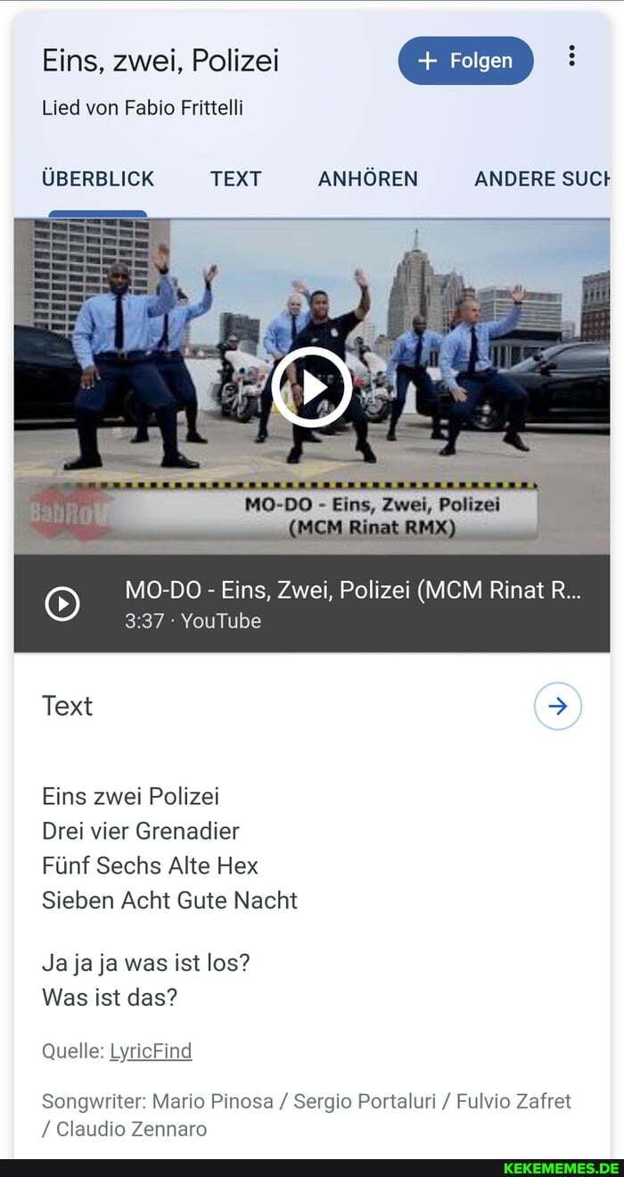 Eins, zwei, Polizei Lied von Fabio Frittelli Folgen ÜBERBLICK TEXT ...