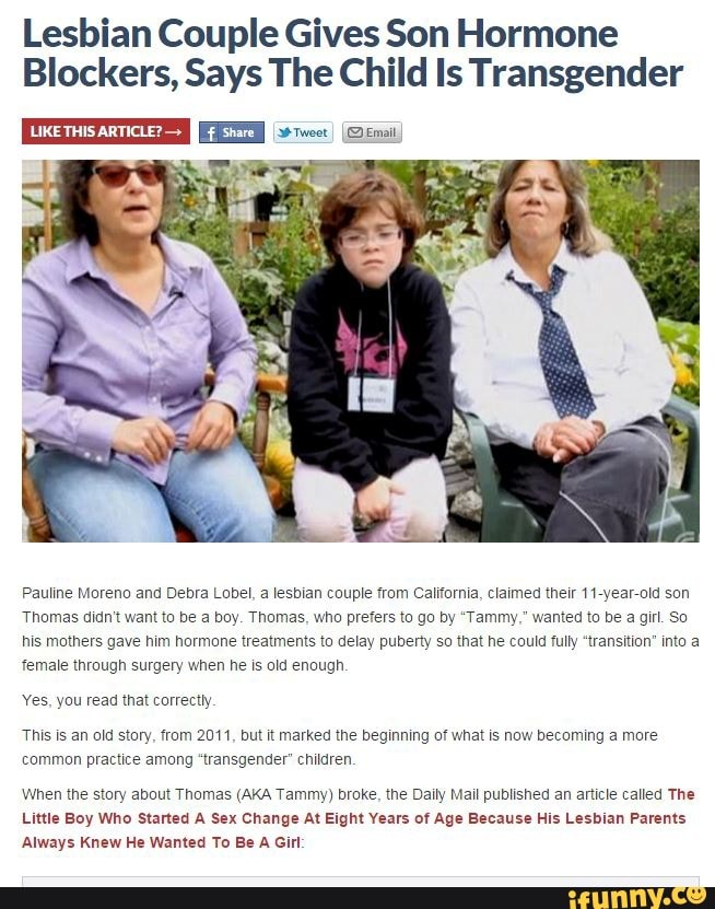 Lesbian Couple Gives Son Hormone Blockers, Says The Child Is