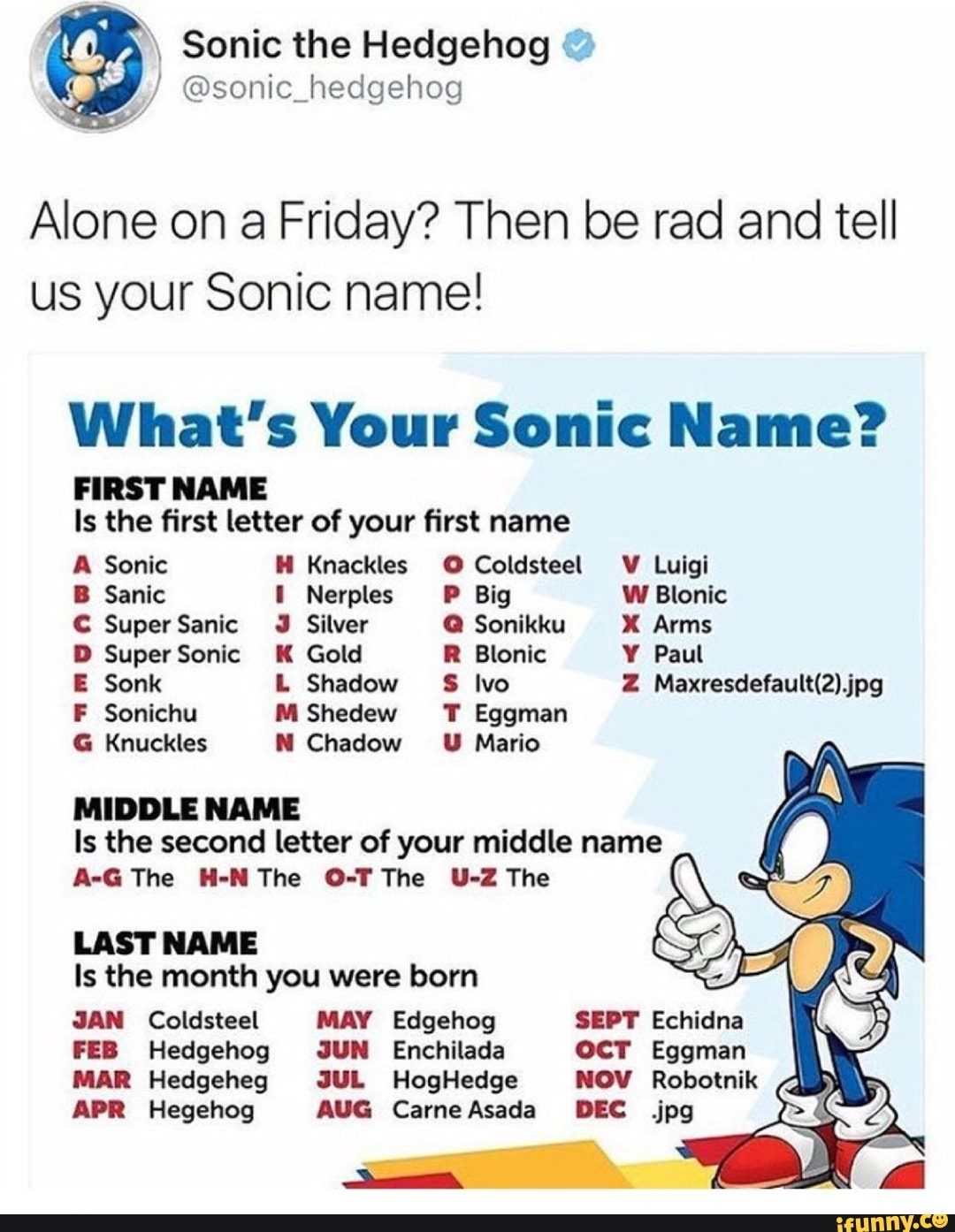 Alone on a Friday? Then be rad and tell us your Sonic name