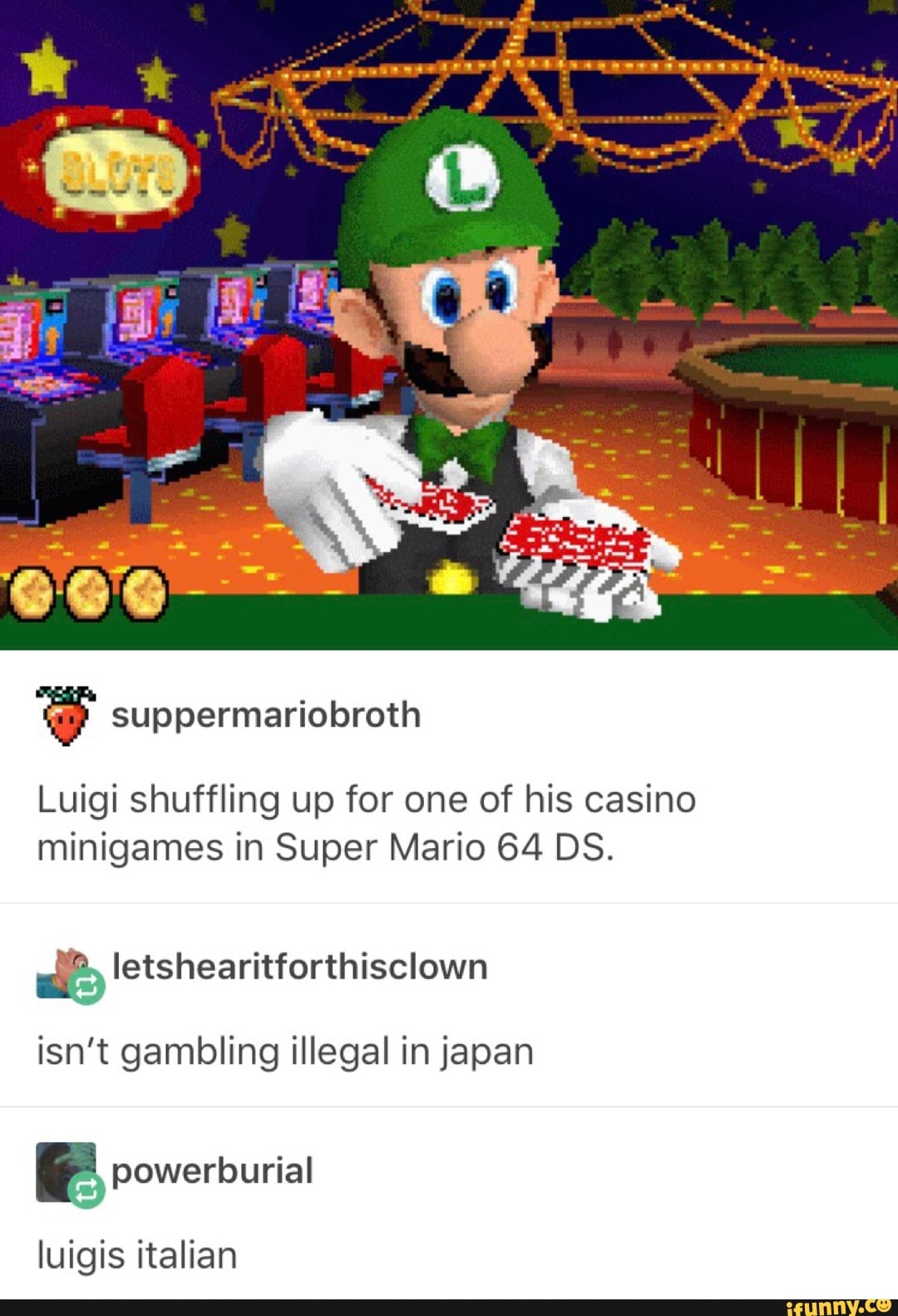 Luigi Shuffling Up For One Of His Casino Minigames In Super