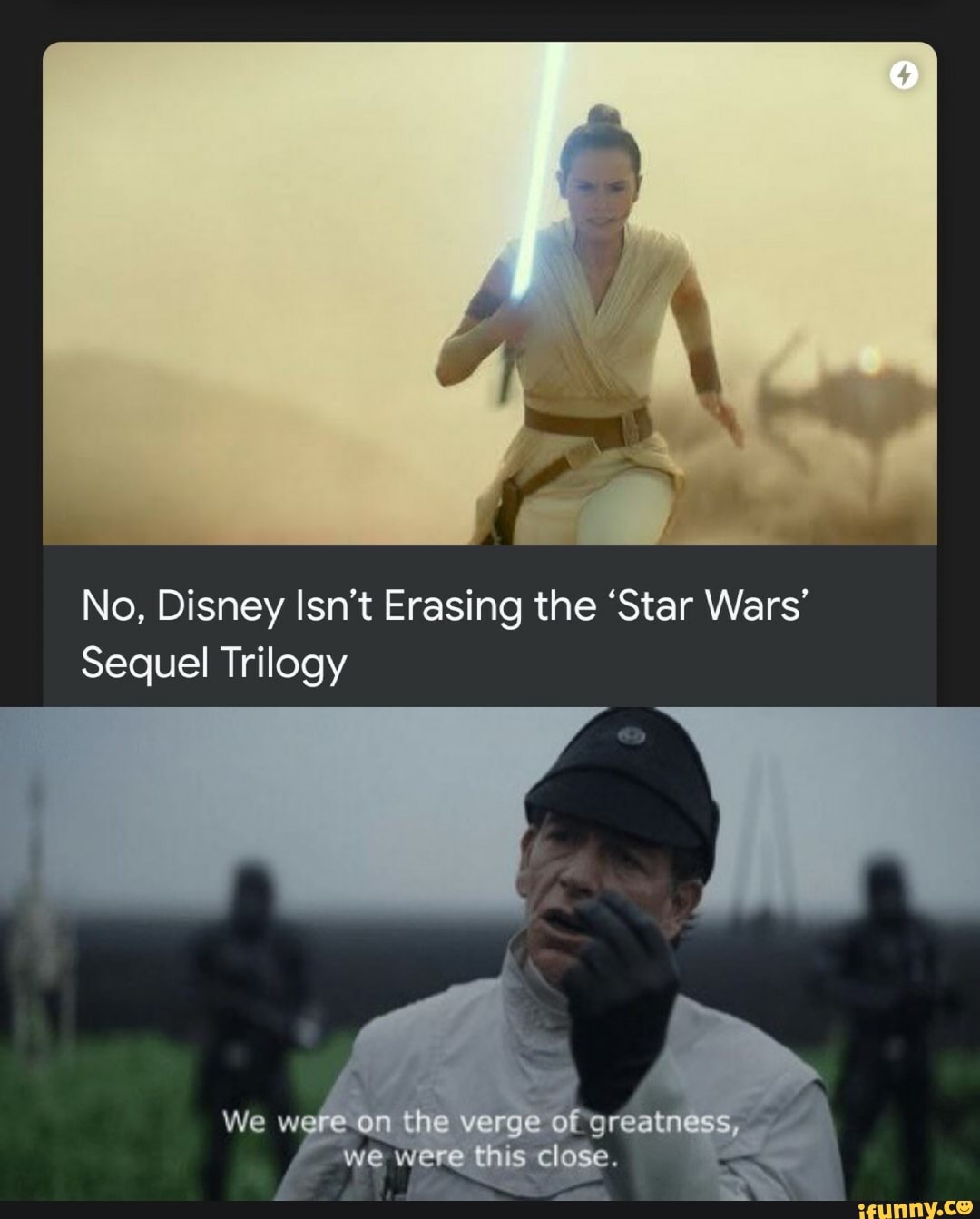 No Disney Isn T Erasing The Star Wars Sequel Trilogy Ifunny