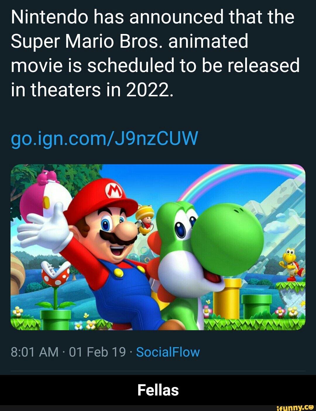 Nintendo Has Announced That The Super Mario Bros Animated Movie