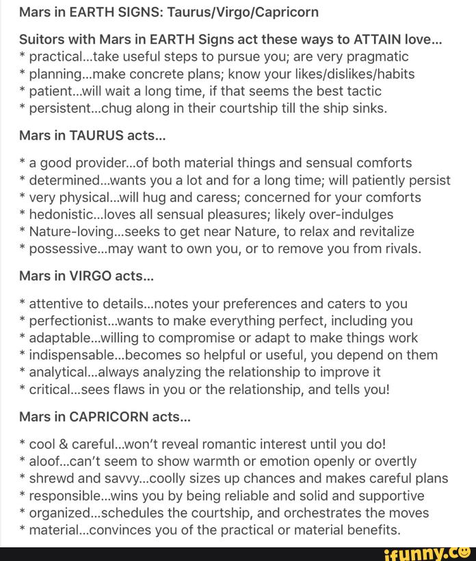 Mars in EARTH SIGNS: Taurus/Virgo/Capricorn suitors with