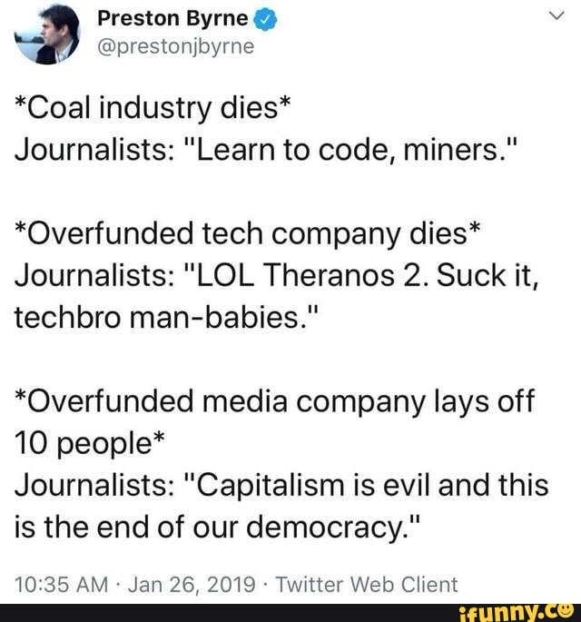 """Coal industry dies"""" Journalists: """"Learn to code, miners"""