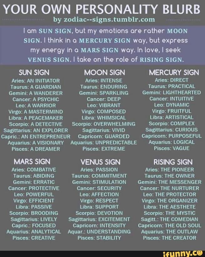 YOUR OWN PERSONALITY BLURB by zodiaCusigns'tumblncom I om