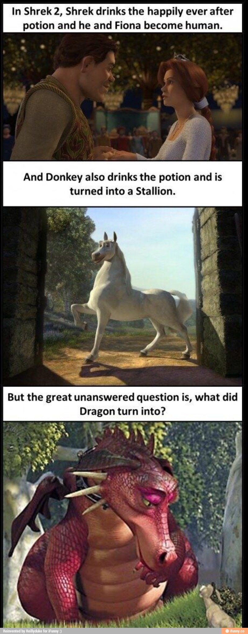 In Shrek 2 Shrek Drinks The Happily Ever After Potion And He And Fiona Become Human And Donkey Also Drinks The Potion And Is Turned Into A Stallion Ifunny