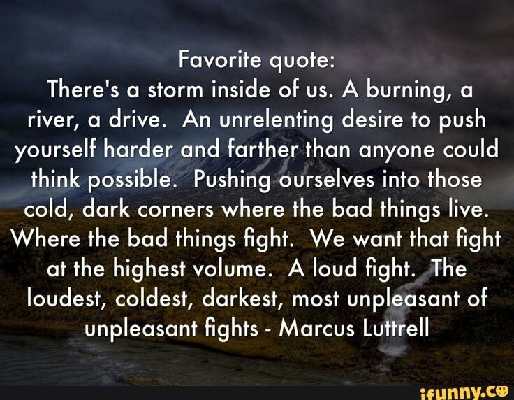 Favorite quote: There\'s a storm inside of us. A burning, a ...