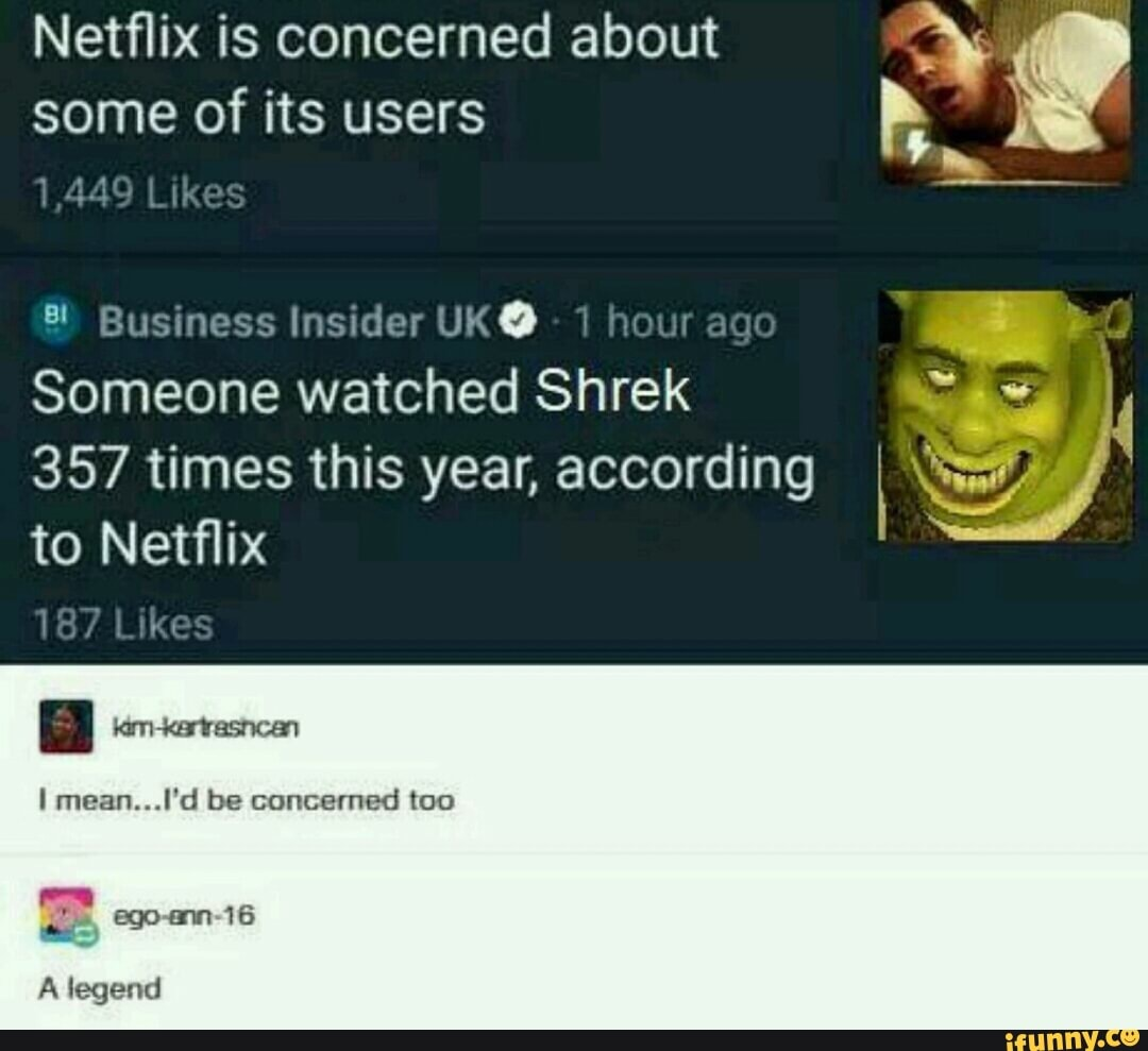 Netflix Is Concerned About A Someone Watched Shrek 357 Times This Year According Ifunny