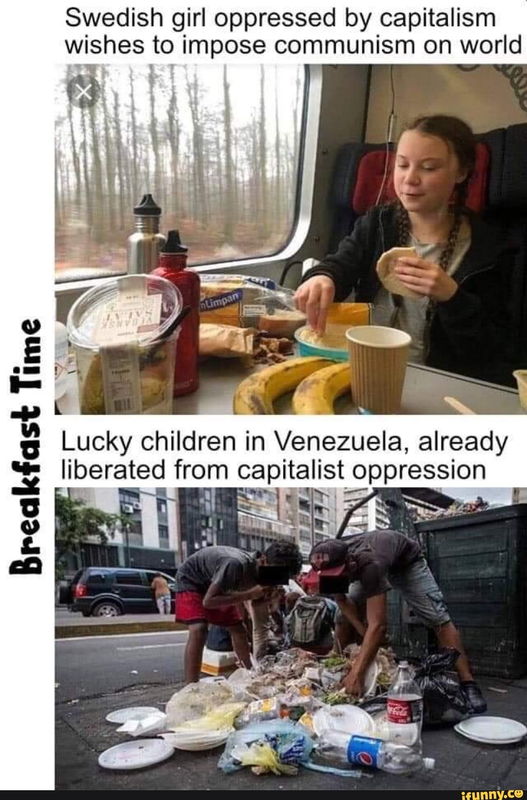 """Swedish girl oppressed by capitalism wishes to impose communism on world Lucky children in Venezuela, already liberated from capitalist oppression $$"""", : PX Brelalcfasi"""