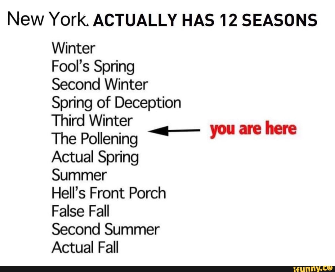 NeW York ACTUALLY HAS 12 SEASONS Winter Fool's Spring Second Winter Spring of Deception Third Winter The Pollening Actual Spring Summer Hell's Front Porch False Fall Second Summer Actual Fall you are here