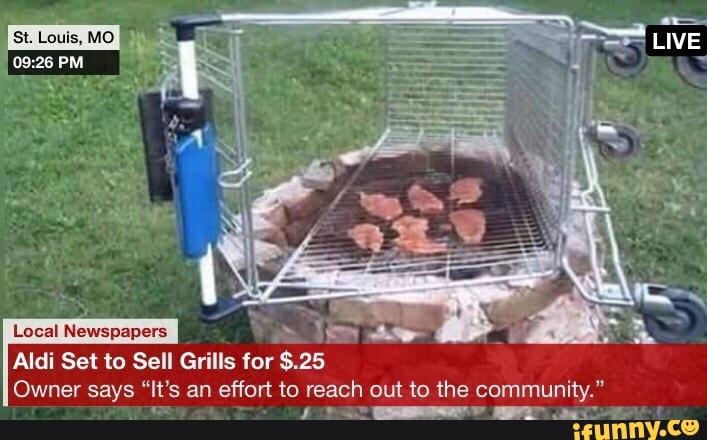aldi shopping cart grill meme