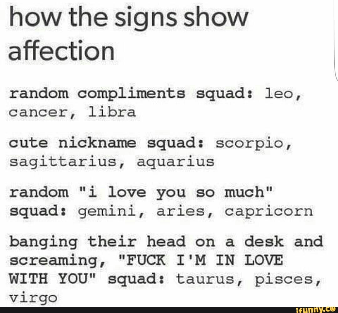 How the signs show affection random compliments squad: leo