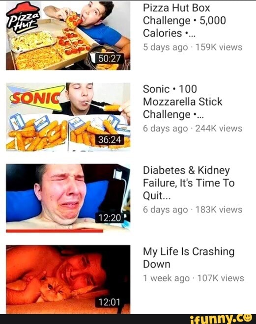 Pizza Hut Box Challenge 5 000 Calories Sonic 100 Mozzarella Stick Challenge A Days Ano Ajk U Diabetes Kidney Failure It S Time To Quit Days Ago 183k Uwws My