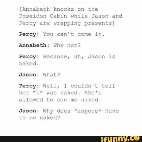 Annabeth knocks on the Poseidon Cabin while Jason and Percy
