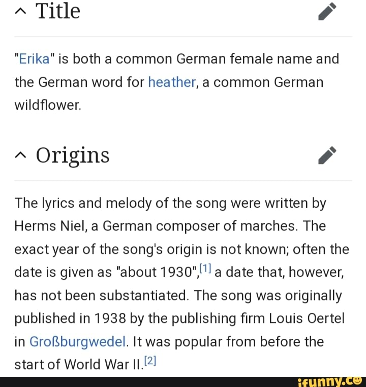 """""""erika"""" is both a common german female name and the german"""