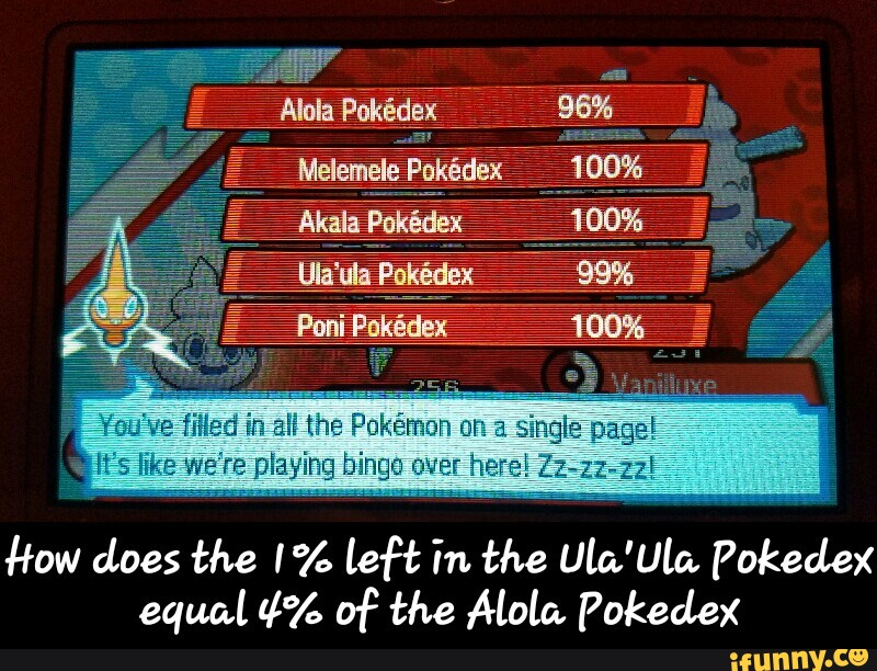 How does the I% left in the Ula'Ulo  Pokedex equal 4% Df the