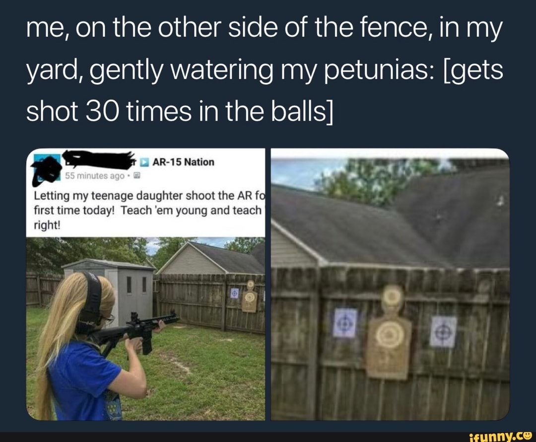 Me, on the other side of the fence, in my yard, gently