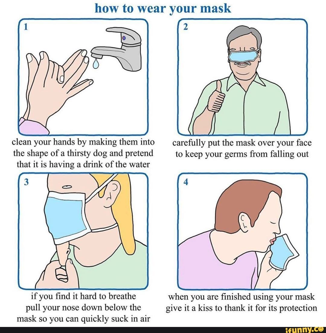How to wear your mask clean your hands by making them into ...