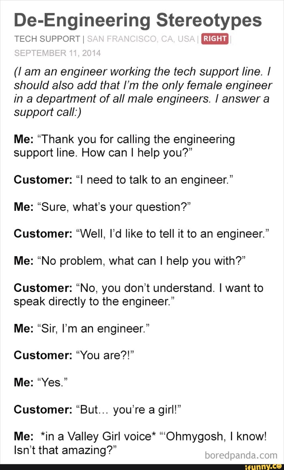 De-Engineering Stereotypes TECH SUPPORT' (/ am an engineer