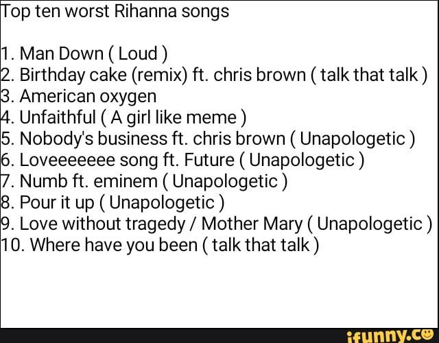 Stupendous Top Ten Worst Rihanna Songs 1 Man Down Loud 2 Birthday Cake Funny Birthday Cards Online Drosicarndamsfinfo