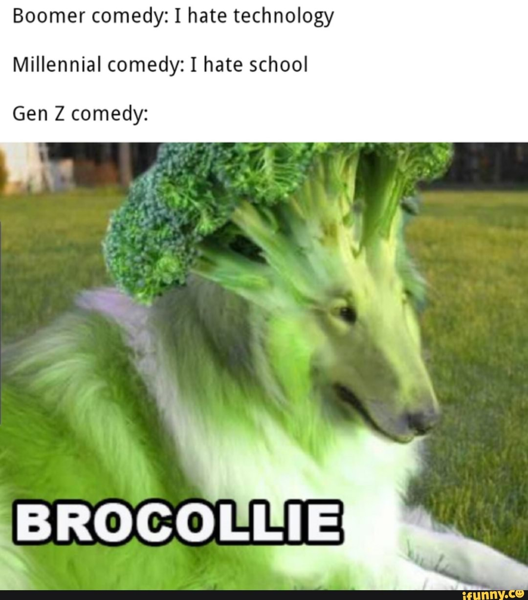 Boomer comedy: I hate technology Millennial comedy: I hate school ...