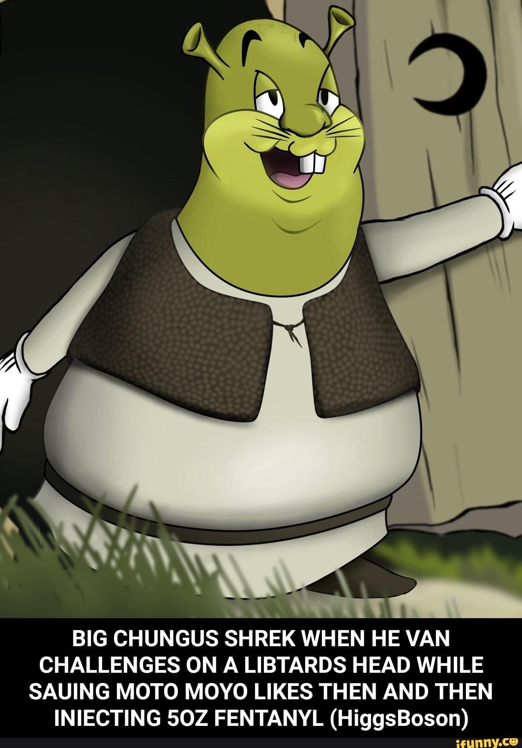 Big Chungus Shrek When He Van Challenges On A Libtards Head While