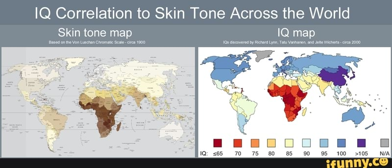 IQ Correlation to Skin Tone Across the World Skin tone map ...