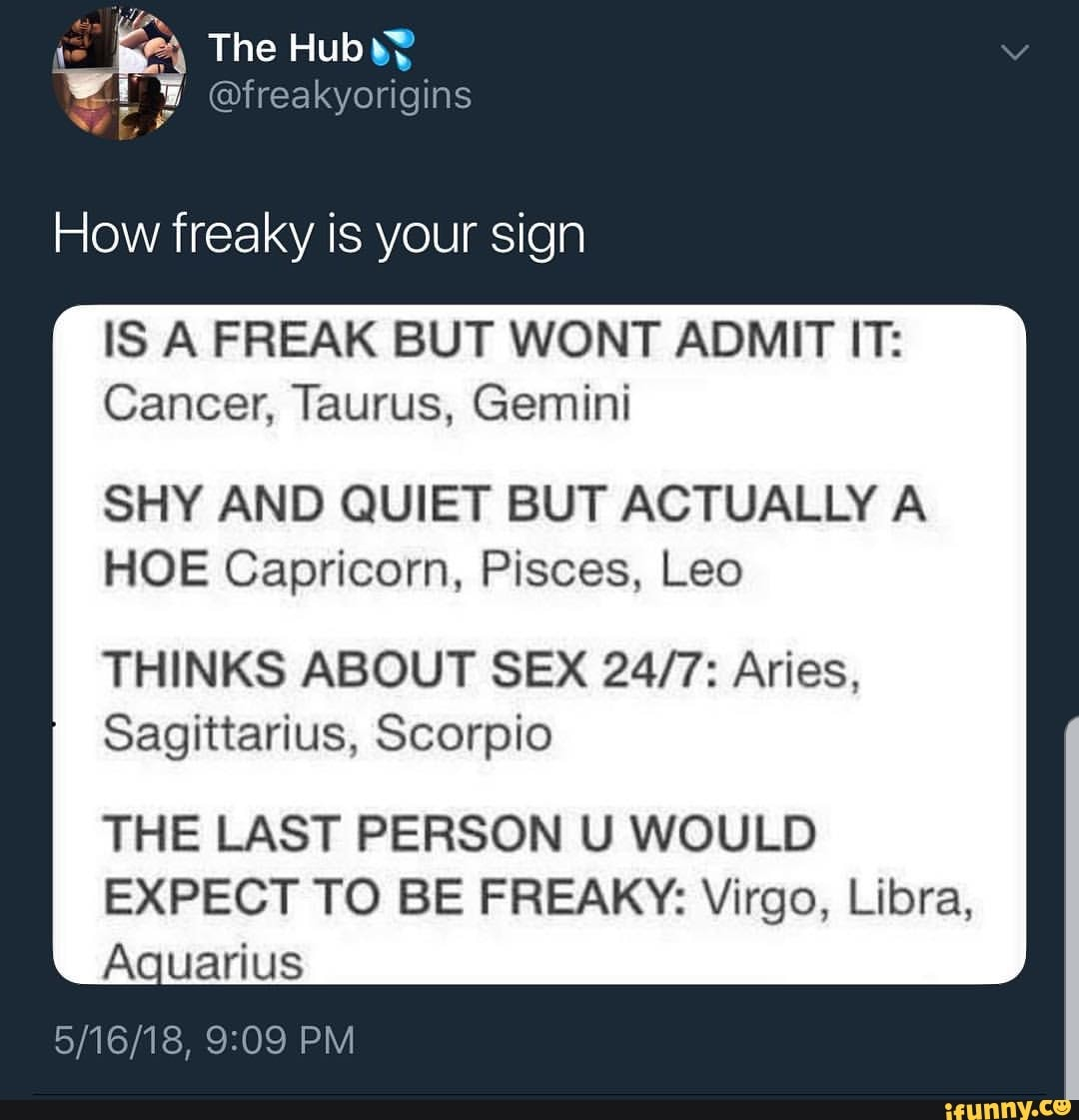 How freaky is your sign IS A FREAK BUT WONT ADMIT IT: Cancer