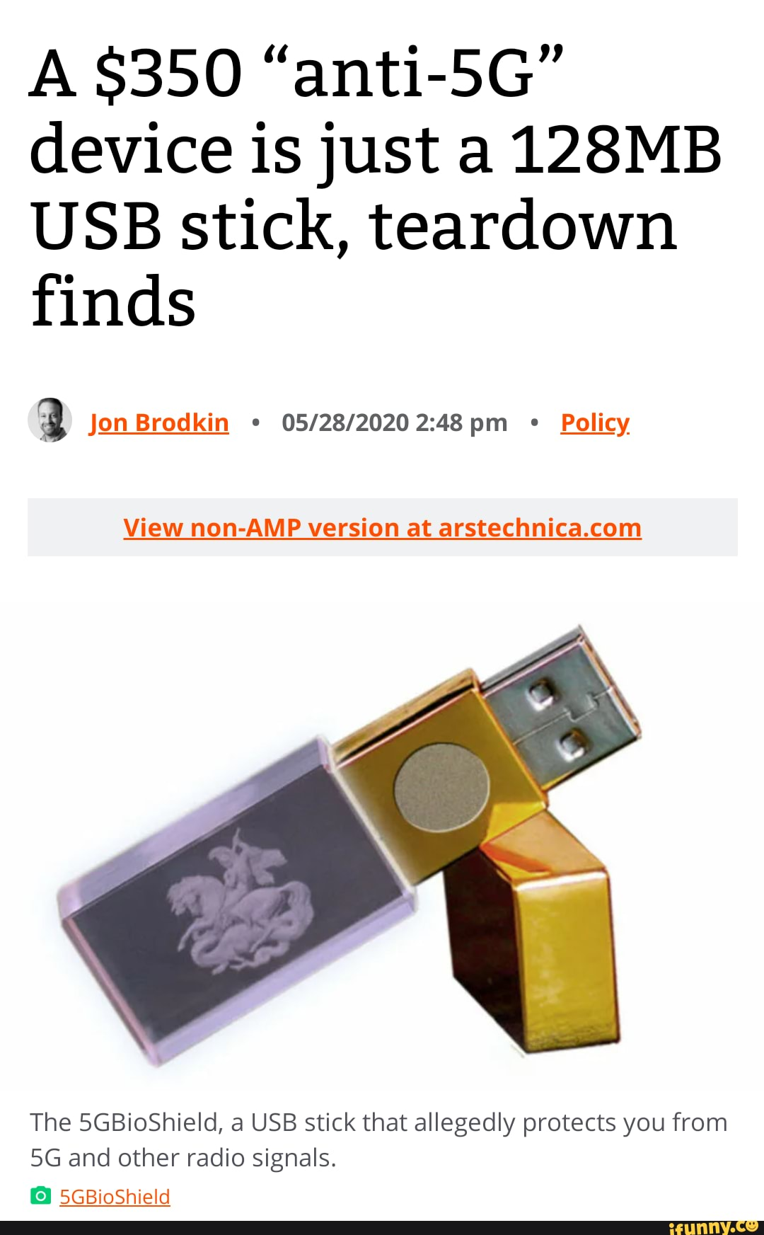 A 350 Anti 5g Device Is Just A 128mb Usb Stick Teardown Finds Jon Brodkin Pm Policy View Non Amp Version At The 5gbioshield A Usb Stick That Allegedly Protects You From And Other