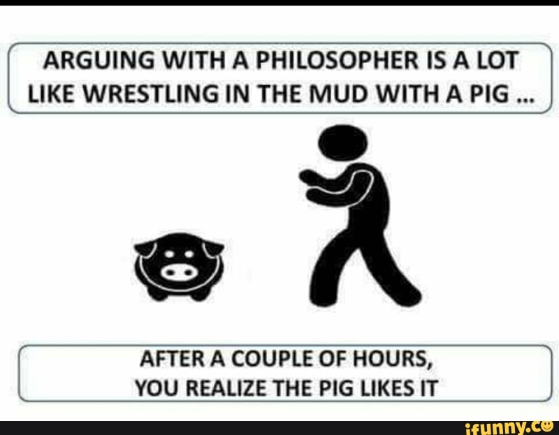 [ ARGUING WITH A PHILOSOPHER IS A LOT LIKE WRESTLING IN THE MUD WITH A PIG í AFTER A COUPLE OF HOURS, J YOU REALIZE THE PIG LIKES IT