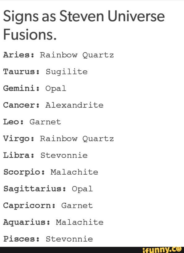 Signs as Steven Universe Fusions  Aries: Rainbow Quartz